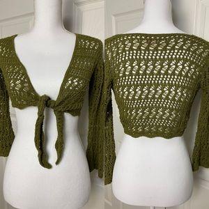 Olive crochet bolero